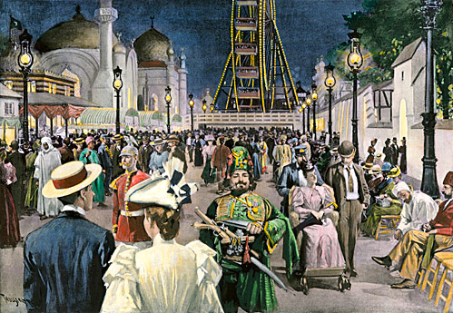Columbian Exposition visitors strolling along the Midway at night, Chicago 1893. Hand-colored woodcut - North Wind Pictures